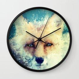 fox / splatter Wall Clock