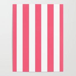 Brink pink - solid color - white vertical lines pattern Poster