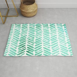 Handpainted Chevron pattern - light green and aqua - stripes Rug