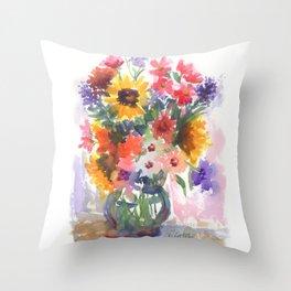 Sunny Summer Sunflowers Throw Pillow
