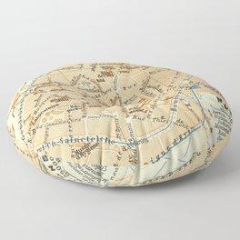Vintage Mons Belgium Map (1910) Floor Pillow