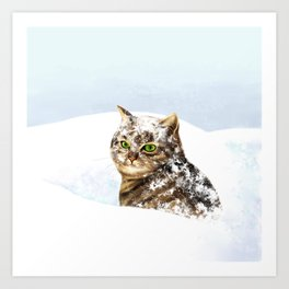 Snowy Cat Art Print