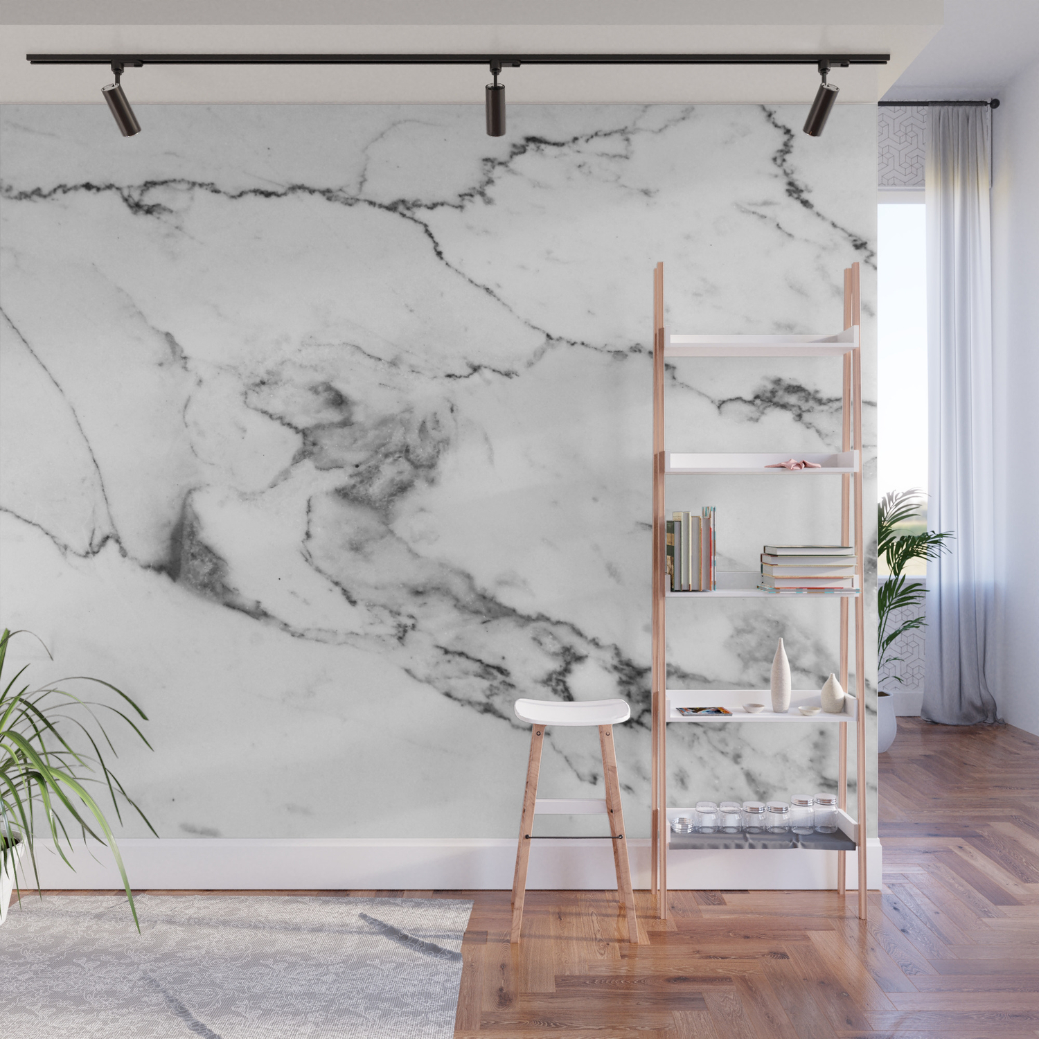 White Marble I Wall Mural By Theaestate Society6