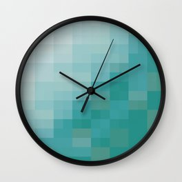 SAM SQWATCH   squares, pixels, turquoise Wall Clock