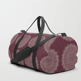 Rose Gold Marble Mandala Burgundy Textured Duffle Bag