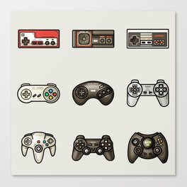 Retro Game Controllers Grey Canvas Print