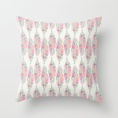 Tribal Feathers Girly Pink Teal Watercolor Pattern Throw Pillow