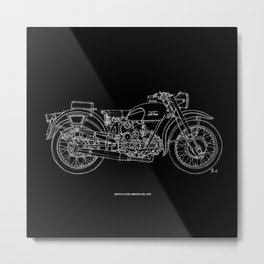 MOTO GUZZI AIRONE 250, 1939 Original Handmade Sketch, white line on black background Metal Print
