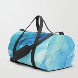 Emerald Sea Waves - Abstract Ombre Flowing Ink Duffle Bag