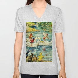 """""""Duck Racing in the Pond"""" by Margaret Tarrant Unisex V-Neck"""