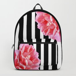 Pink roses on black and white stripes Backpack