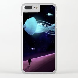 Galactic Horned Whale Clear iPhone Case