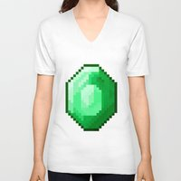 emerald V-neck T-shirts featuring Emerald by Masonicz