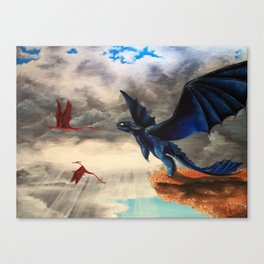 Toothless, Dragons, Flying Canvas Print