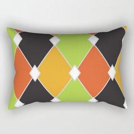 Orange, green and black jester diamonds Rectangular Pillow