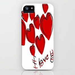 I Love You Greeting With Hearts iPhone Case