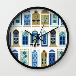 Moroccan Doors – Blue & Gold Palette Wall Clock