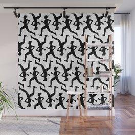 Running Girl B&W Pattern Wall Mural