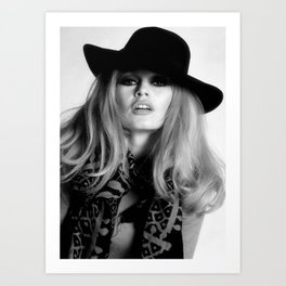 Brigitte Bardot Wearing Black Hat, Retro Fashion Art Art Print