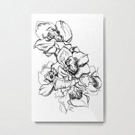 Flowers Line Drawing Metal Print