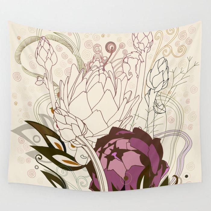 Peach and purple  artichoke Wall Tapestry