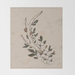 Floral Antler Throw Blanket