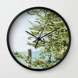 Olive tree by the turqoise ocean | Travel photography Italy | Fine art photo print Wall Clock