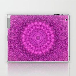 Sunflower Peacock Feather Bohemian Pattern \\ Aesthetic Vintage \\  Bright Fuchsia Pink Color Scheme Laptop & iPad Skin