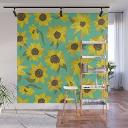 Sunflowers Acrylic on Turquoise Wall Mural