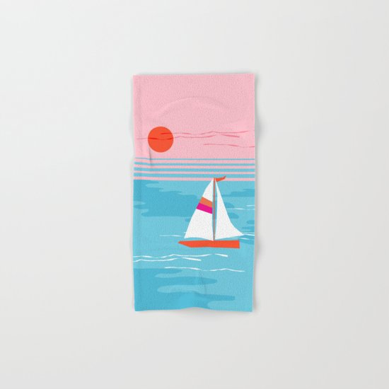 Mellow Out - memphis throwback retro classic neon yacht boating sailboat ocean sea 1980s 80s pop art Hand & Bath Towel