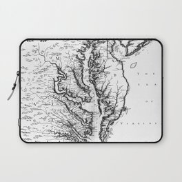 Vintage Map of The Chesapeake Bay (1719) BW Laptop Sleeve