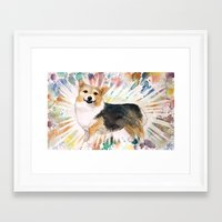 corgi Framed Art Prints featuring Corgi by Caitlin Rausch