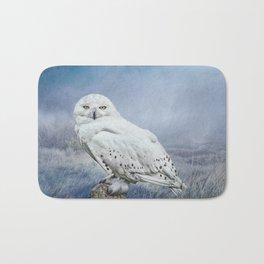Snowy Owl in mist Bath Mat