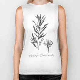French Tarragon Botanical Illustration Biker Tank