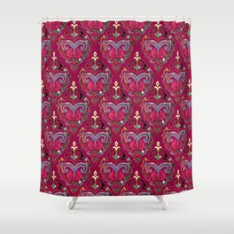 Persian Floral pattern  with painted texture and gold Shower Curtain