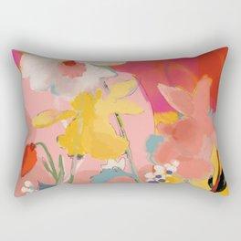 blooming abstract pink Rectangular Pillow