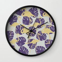 Flamingos and Monstera Pattern ZZ Wall Clock
