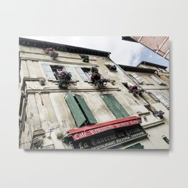 French Cafe | Desaturated Pizzeria Creperie Restaurant Red Awning Old Building Architecture Metal Print