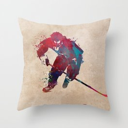 Hockey player 1 #hockey #sport Throw Pillow