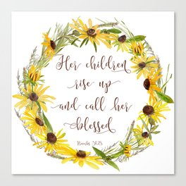 Wildflower Wreath - Mother Quote Canvas Print
