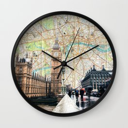 Map of London, England Skyline of Big Ben and Parliament Wall Clock