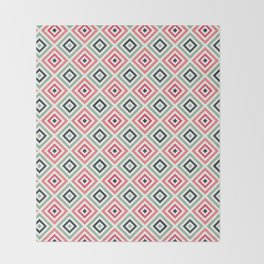 Pink Green Geometric Pattern Throw Blanket