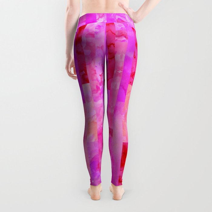 Pink Geometric Pattern Leggings