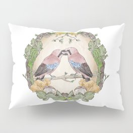 Watercolor Woodland Birds Jays in a Forest Plants , Blackberries Ivy and Fungi Mushroom Frame Pillow Sham