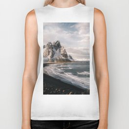 Stokksnes Icelandic Mountain Beach Sunset - Landscape Photography Biker Tank