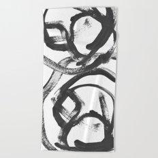 Interlock black and white paint swirls Beach Towel