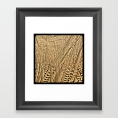 Tire tracks in the sand. Framed Art Print
