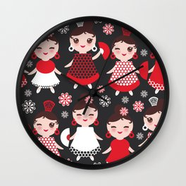 Seamless pattern spanish Woman flamenco dancer. Kawaii cute face with pink cheeks and winking eyes. Wall Clock