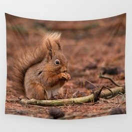 Nature woodland animals Red squirrel by a log Wall Tapestry
