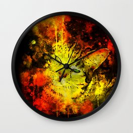 evil cat splatter watercolor Wall Clock